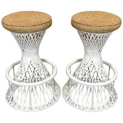 Pair of Woven and Spun Fiberglass Bar Stools by Robert Woodard