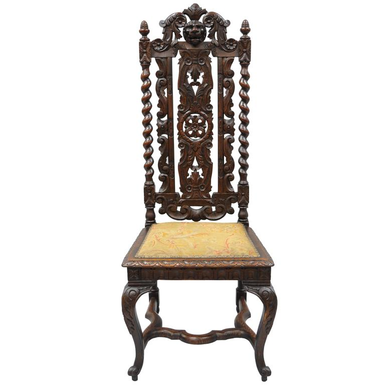 Renaissance Revival Figural Lion Carved Oak Barley Twist Tall Throne Hall  Chair For Sale - Renaissance Revival Figural Lion Carved Oak Barley Twist Tall Throne