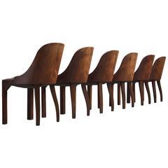 De Coene Set of Six Art Deco Chairs in Stained Oak