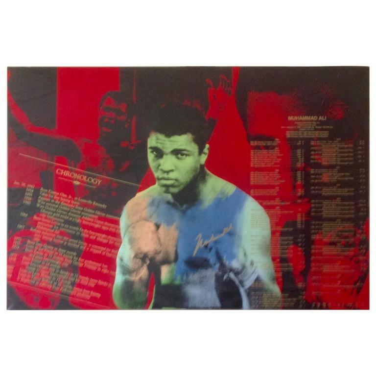 Large Signed Pop Art Muhammad Ali Screenprint on Canvas by Steve Kaufman