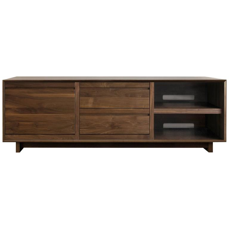 Modern LP Media Console Entertainment Cabinet with Drawers For Sale