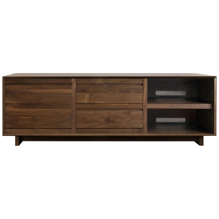 Modern Lp Media Console Entertainment Cabinet With Drawers