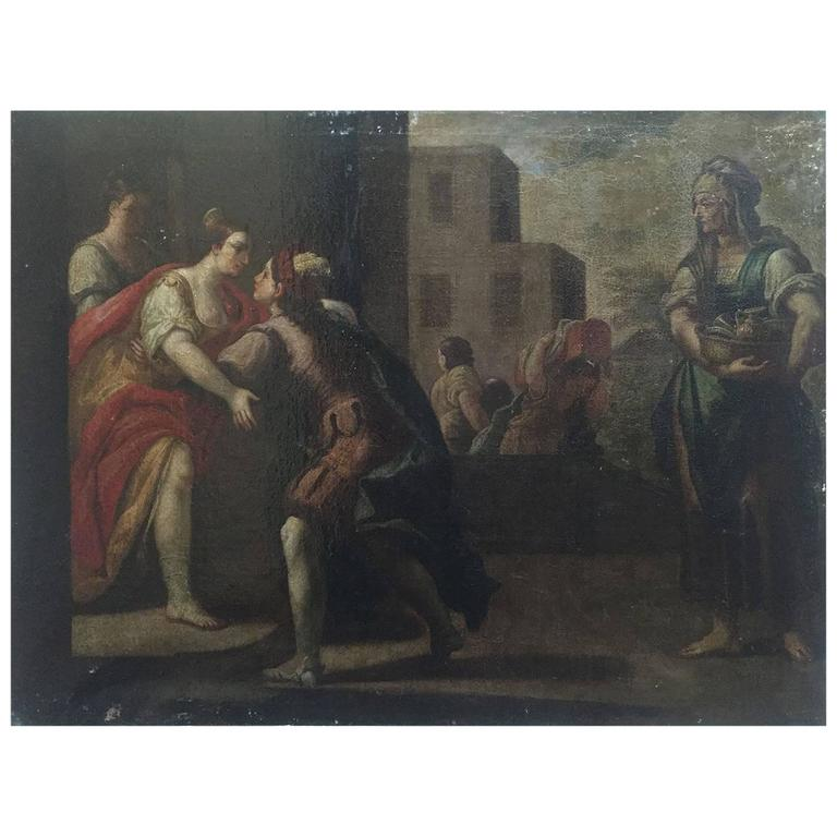 Large 18th Century Italian Oil on Canvas Framed Painting with Figures