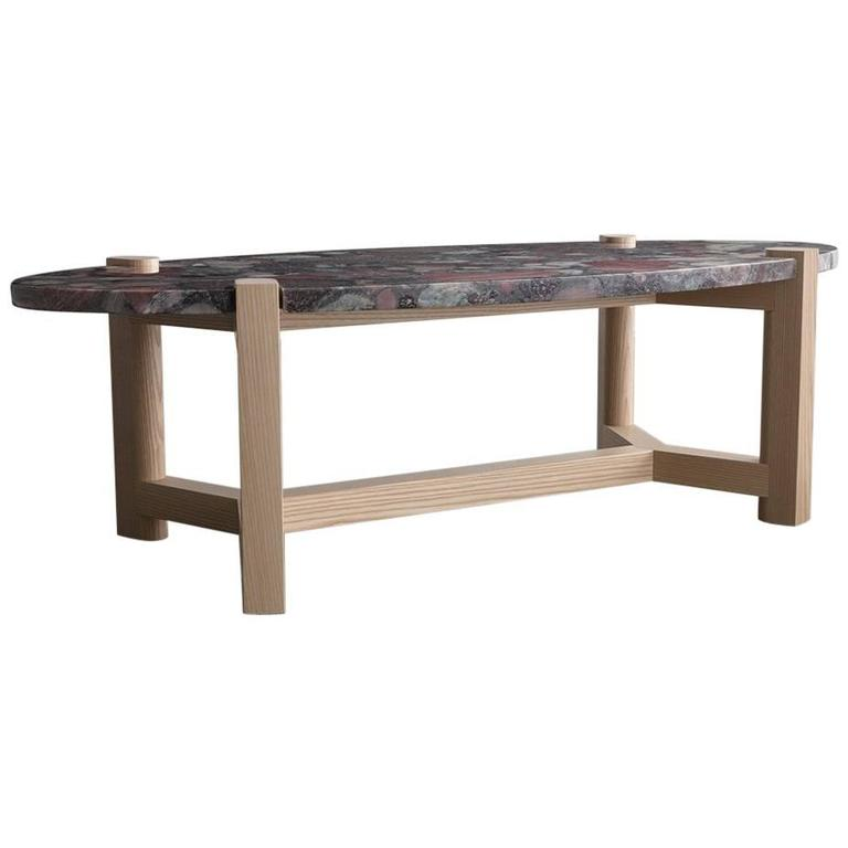 Pierce Coffee Table Red Marinace Granite Oval Ash Hardwood For Sale
