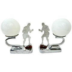 Art Deco English Nickel Pair of Boxer Table / Desk Lamps with White Glass Globes