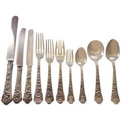 Cluny by Gorham Sterling Silver Flatware Set Dinner & Luncheon Service, 153 Pcs