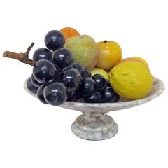 Marble Tazza with Marble and Alabaster Fruit Italian