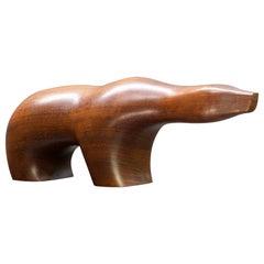 Rare 1950s Arne Tjomsland Large Teak Polar Bear Sculpture Norway