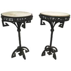 Pair of Wrought Iron and Marble Side Tables