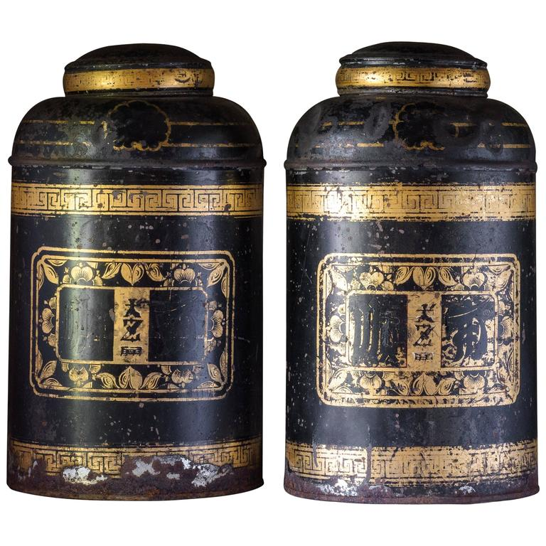 Late19th Century Toleware Tea Canisters For Sale