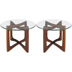 Pair of Open Cube Walnut and Glass Tables by Adrian Pearsall