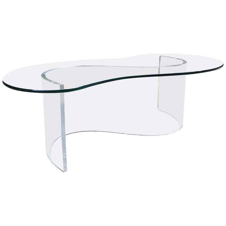 Lucite and Glass Free-Form Coffee Table