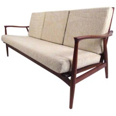 Exquisite Scandinavian Modern Sculpted Teak Sofa