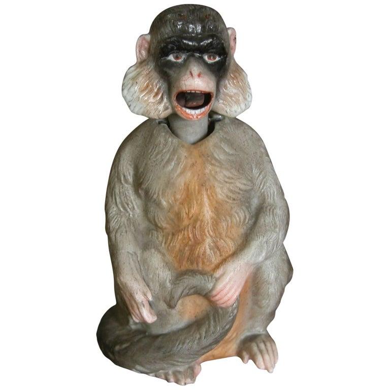 19th Century Porcelain Bobblehead Nodder of a Monkey by Ernst Bohne & Sohne For Sale
