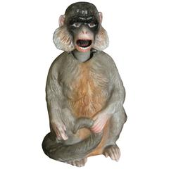 19th Century Porcelain Bobblehead Nodder of a Monkey by Ernst Bohne & Sohne
