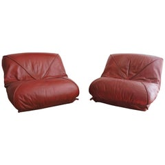 Pair of 1970s Red Leather Low Soft Chairs by Airborne