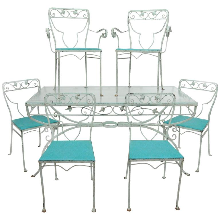 7 Piece Salterini Patio Dining Set Garden Wrought Iron