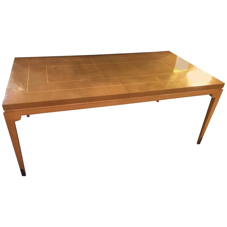 Stamped Parzinger Originals Bleached Mahogany Dining Table