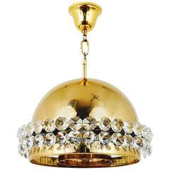 Gold-Plated Bakalowits Brass Globe Chandelier, Diamond Crystals, Austria, 1970s