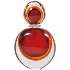 Large Red and Amber Murano Perfume Bottle