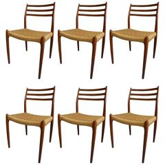 1950 Niels Moller Set of 6 Teak Model 78 Dining Chairs