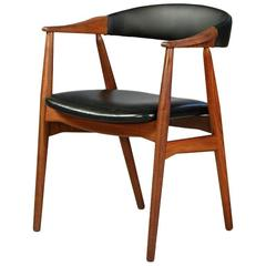 1950s Th.Harlev Model 213 Armchair in Teak and Black Leather by Farstrup Møbler