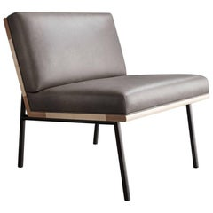 DGD Lounge Chair, Grey Leather, Black Nickel Plated Steel, Maple Hardwood