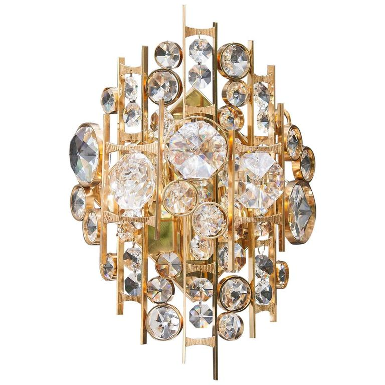 Huge Palwa Gilt Metal Jewel Crystal Sconces