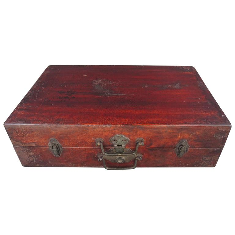Antique Chinese Red Lacquered Wood and Goatskin Suitcase with Bronze Mounts