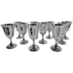 Set of 12 American Sterling Silver Goblets by Stieff