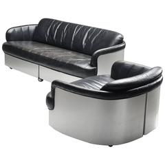 Beaufort Rare Leather and Chrome Lounge Set