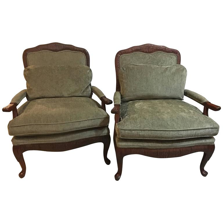 Pair of oversized louis xv style fauteuils or lounge chairs by lexington for - Fauteuil style louis xv ...
