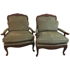 Pair of Oversized Louis XV Style Fauteuils or Lounge Chairs by Lexington