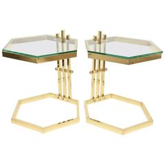 Pair of Brass & Glass Modernist Sculptural Octagon Side/ Drink Tables/ SALE