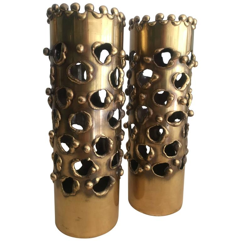 Pair of Exceptional Brass Brutalist Candle Sticks in the Manner of Curtis Jere For Sale