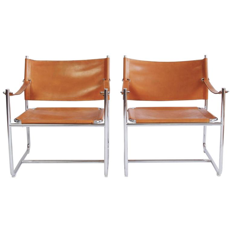 Pair of Chrome and Leather Amiral Armchairs by Karin Mobring