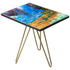 Colorful Ceramic Tripod Side Table, Italy, 1955