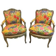 Pair of Louis XV Style Polychrome Decorated Fauteuils, Maison Jansen Attributed