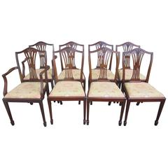 Antique Set of Eight Mahogany Hepplewhite Style Dining Chairs