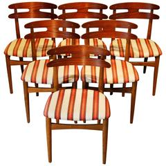 Johannes Andersen Designed Set of Six Teak Upholstered Dining Chairs, circa 1960