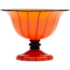 Michael Powolny Loetz Tango Piped Orange Pedestal Glass Bowl, circa 1914
