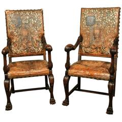 Pair of 18th Century Walnut Italian Throne Chairs, circa 1770