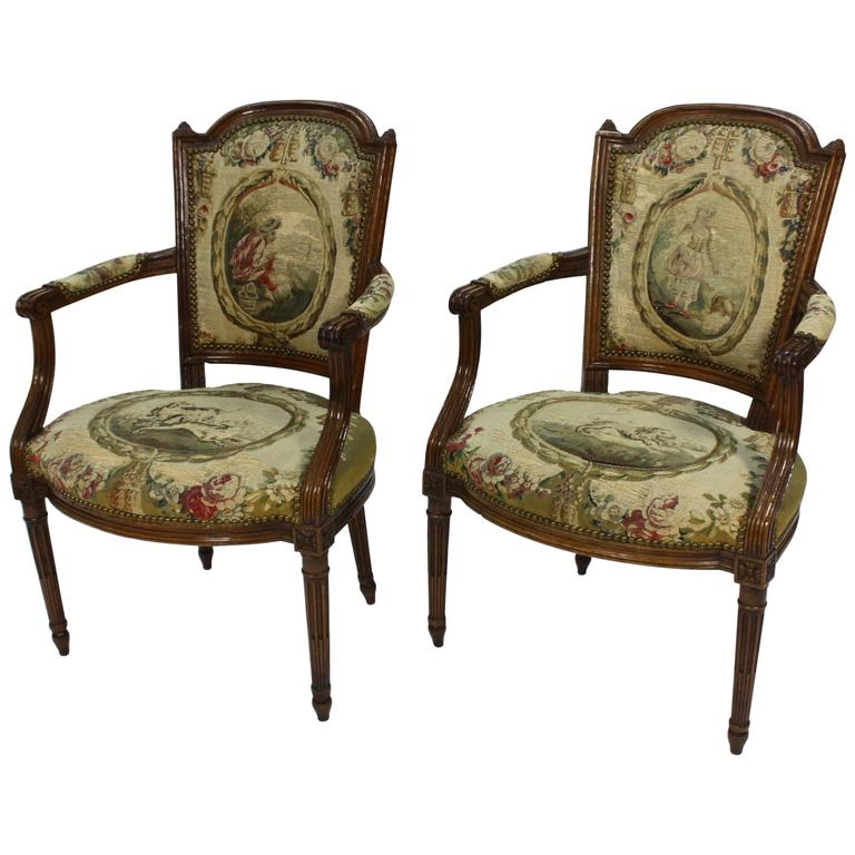 Pair of French Louis XVI Period Fauteuils Armchairs 1