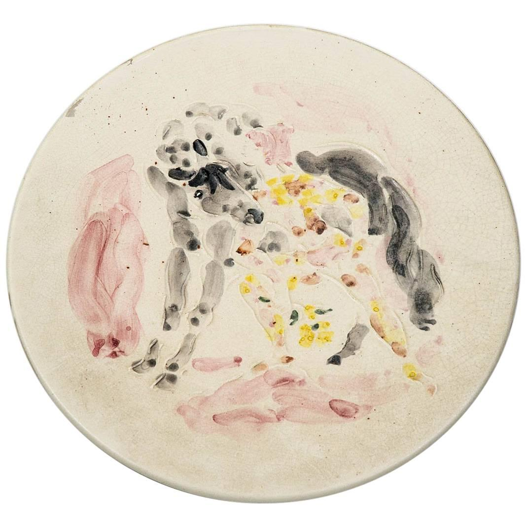 Marcel Vertès Beautiful Ceramic Dish to the Horse, circa 1950