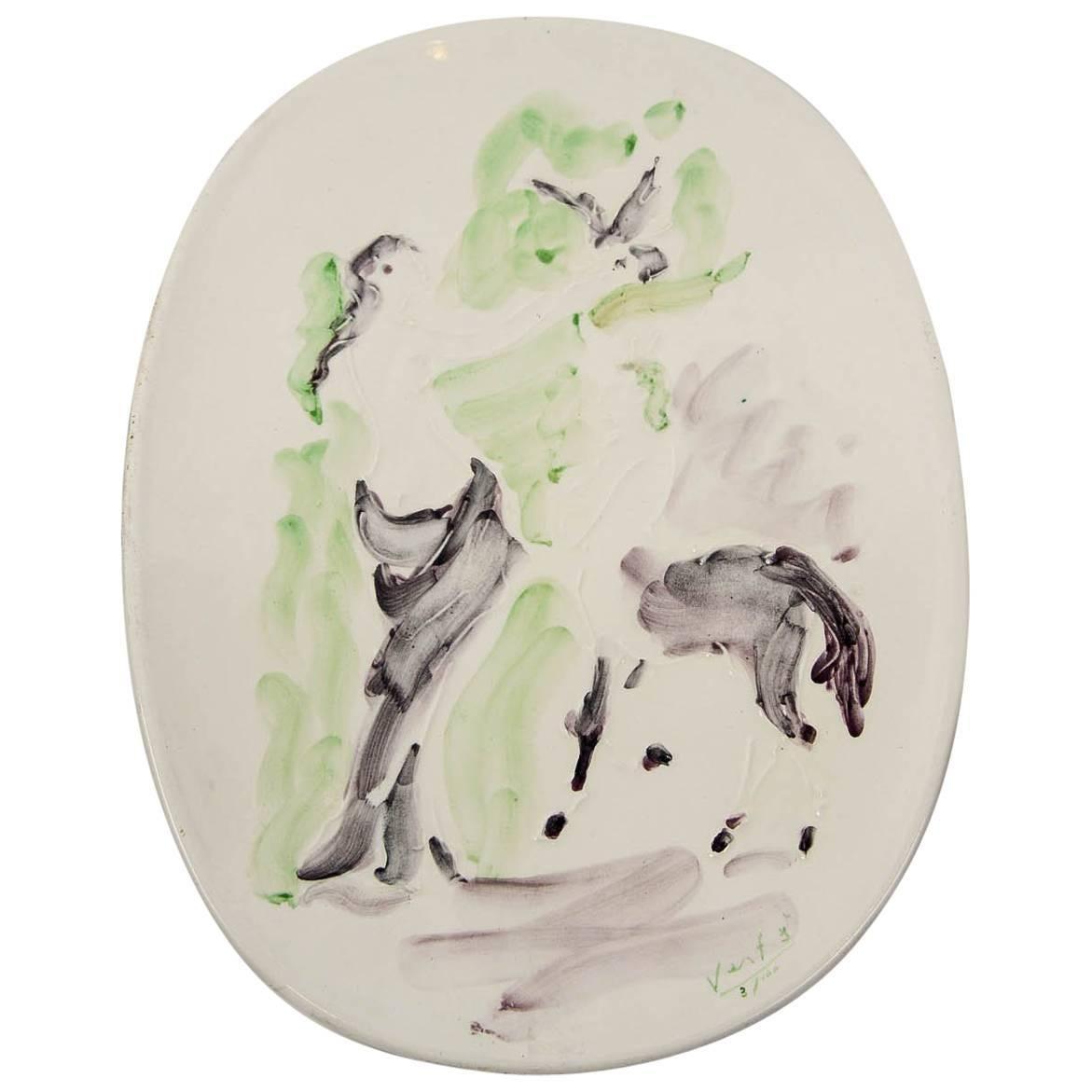 Marcel Vertes Beautiful Plate in Ceramic, Vallauris, circa 1955