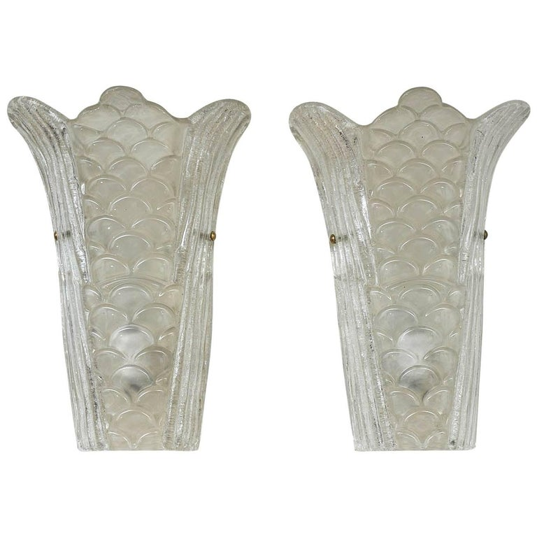 Pair of Murano Glass Wall Sconces For Sale