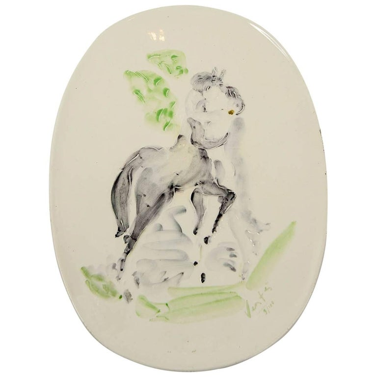 Marcel Vertes Beautiful Plate in Ceramic, Vallauris, circa 1955 For Sale