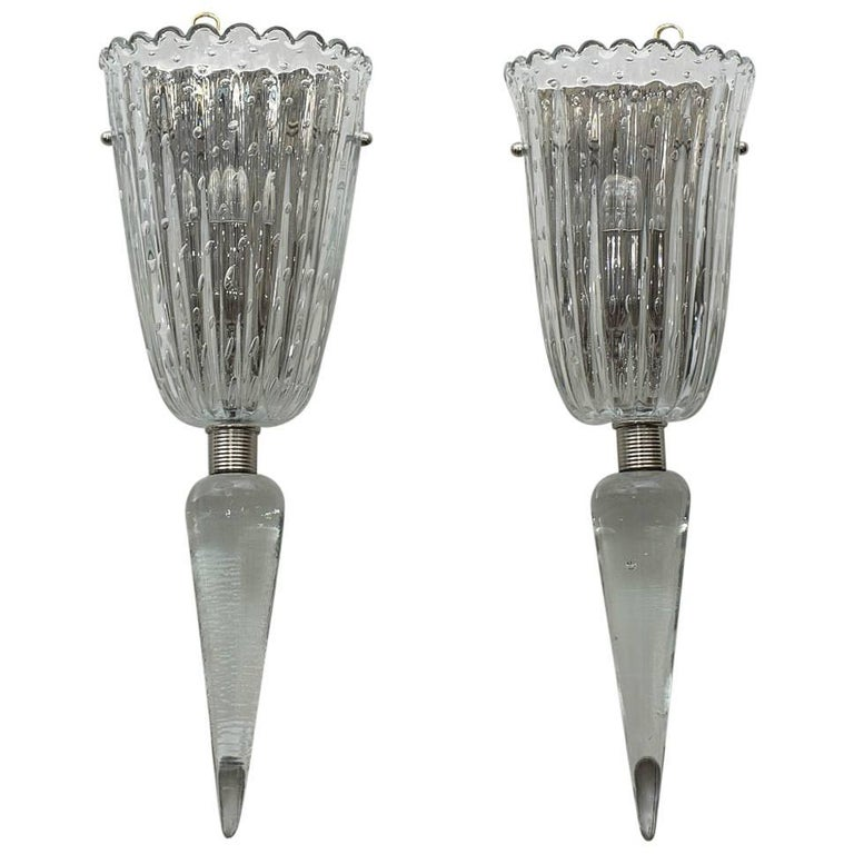 Pair of Murano Glass Wall Sconces 1