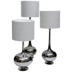 Set of Table Lamps in Glass, Silvered Titanium Patina