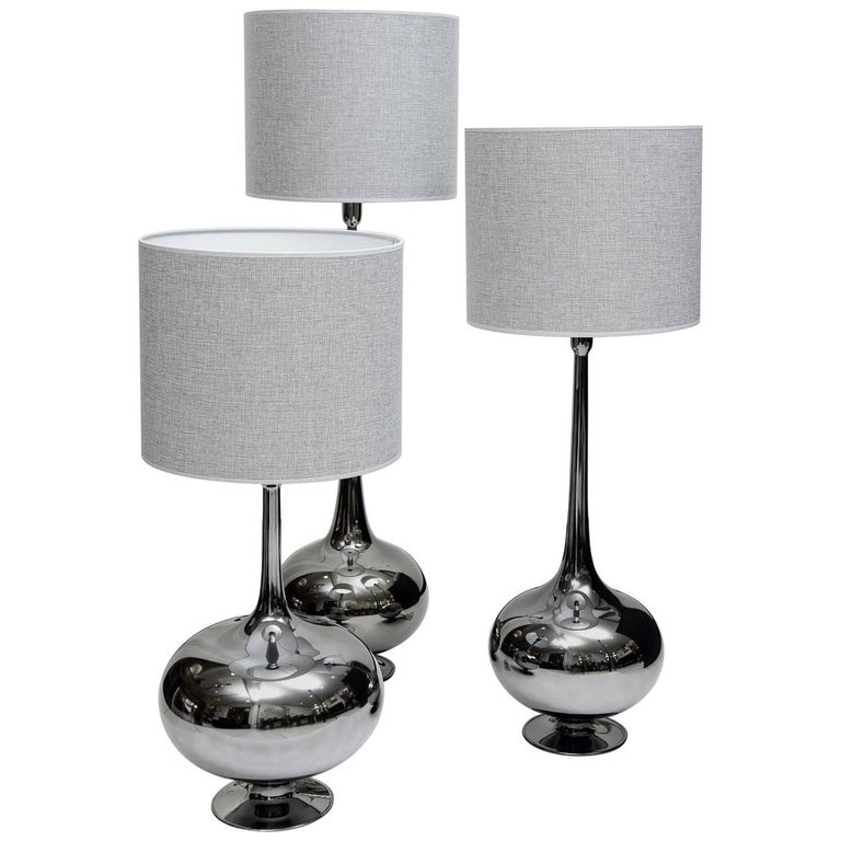 Set of Table Lamps in Glass, Silvered Titanium Patina For Sale
